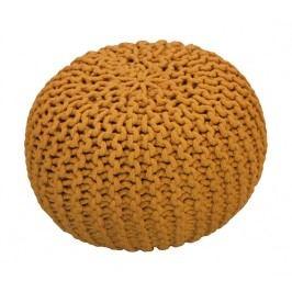 CrazyShop Pletený puf Crazyshop SOLID Mini, žlutý - ručně pletený
