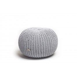 Justin Design Pletený puf malý melír světle šedá