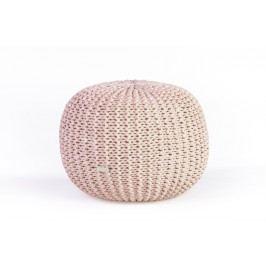 Justin Design Pletený puf střední světle růžová batika