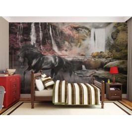Murando DeLuxe Černý kůň u vodopádů 150x116 cm