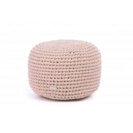 Justin Design Háčkovaný puf střední světle růžový