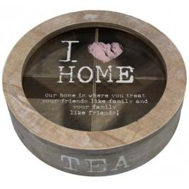 Dřevěná krabička na čaj I Love home