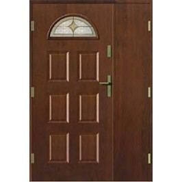 dveře Thermika Falc 6 Paneli s vitráží dvoukřídlé